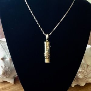 VTG Sterling Silver Gilded Vial/Pill Box Necklace